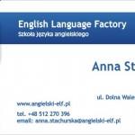 """(Polski) Wizytówka """"ELF"""" English Language Factory"""