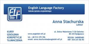 Wizytówka ELF English Language Factory